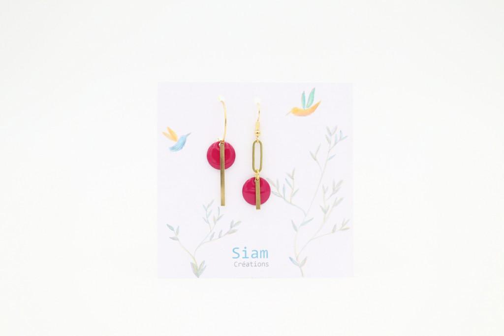 Siam Créations bijoux boucles d'oreilles - Loé rose fuschia (web)