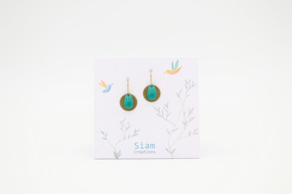 Siam Créations bijoux boucles d'oreilles - Zia vert turquoise (web)