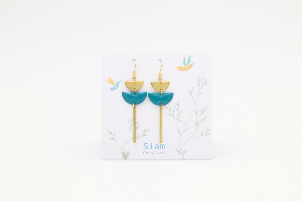 Siam Créations bijoux boucles d'oreilles - Zoha bleu canard (web)